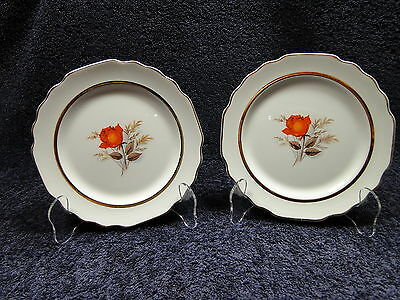 W S George Lido Vermillion Rose Dinner Luncheon Plates 22K Trim TWO