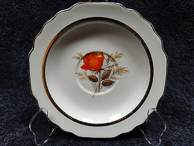 W S George Lido Vermillion Rose 22K Trim Saucers 40's Vintage TWO