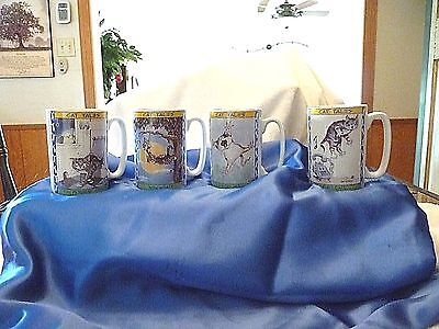 Cat Tales Coffee/tea Cups/mugs By Gary Patterson 1998 Lot Of Four