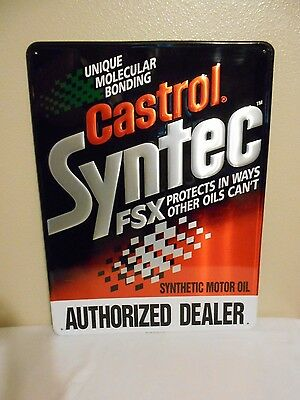 """NOS Black Castrol Syntec FSX Authorized Dearler Embossed Tin Sign 18""""x24"""""""