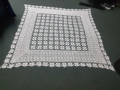 Vintage Handmade White Crochet Square Tablecloths x 2