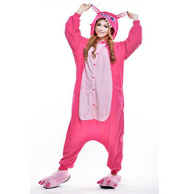 Unisex Adult Pajamas Kigurumi Cosplay Costume Animal Sleepwear (Rose Stitch S)