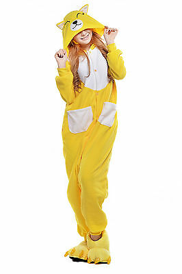 Adults Animal Kigurumi Pajamas Cosplay Sleepwear Costumes Unisex(Yellow Fox M)