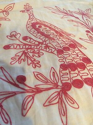 Vintage Redwork Embroidered Linen Pillow Shams - Handmade and Hand Embroidered