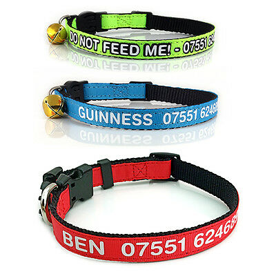 Cat Collars - Personalised Printed Collars with Name & Phone Number or Anything