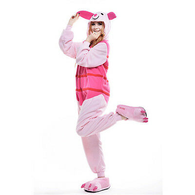Newcosplay Unisex Adult Animal Pyjamas Cosplay Costume Kigurumi (Piglet Pig S)