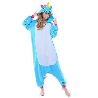 Unisex Adult Animal Pyjamas Cosplay Costume Kigurumi (Blue Flying Horse XL)