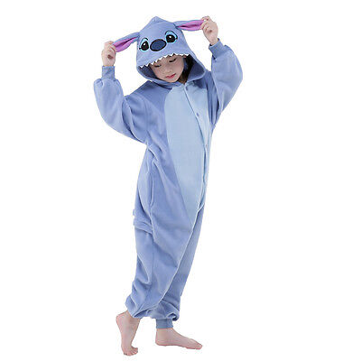 Unisex Children Animal Pyjamas Cosplay Costume Kigurumi (Blue Stitch 115)