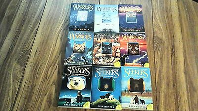 Lot of 9 books by Erin Hunter: Warriors 1-6, Seekers 1-3, good cond!  soft cover