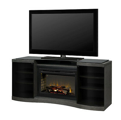 """Dimplex Acton walnut electric TV fireplace media stand 33"""" Multi-Fire XD logset"""