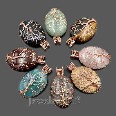 New Natural Gemstones Tree Life Rose Gold Wire Wrapped Drop Chakra Beads Pendant