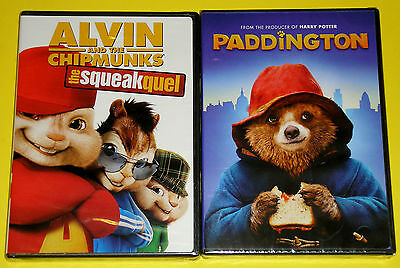 Kid DVD Lot - Alvin and the Chipmunks the Squeakquel (New) Paddington (New)