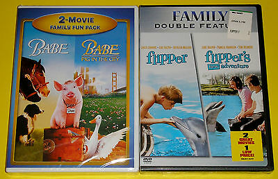 Family DVD Lot - Babe / Babe Pig in the City (New) Flipper / Flipper's New Adven