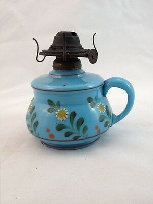 Antique Finger Oil Lamp by P & A MFG Waterbury Conn. Porcelain Hand Painted