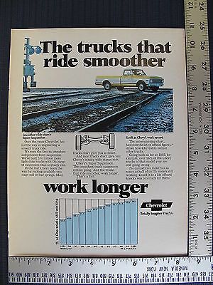 1972 Chevrolet Chevy Pickup Truck Yellow Print Ad Advertisement Advertising
