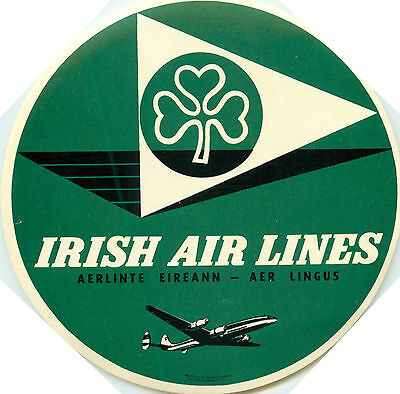IRISH AIRLINES ~Aer Lingus~ Vibrant & Large Old Luggage Label, c. 1955