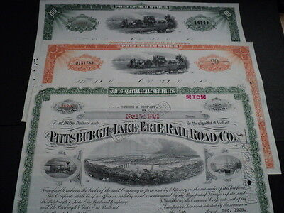 3 Old Stock Certificates Railroad Companies