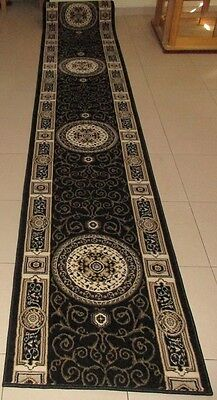 New Extra Long Black Persian Design High Quality Hall Runner Floor Rug 67X500Cm