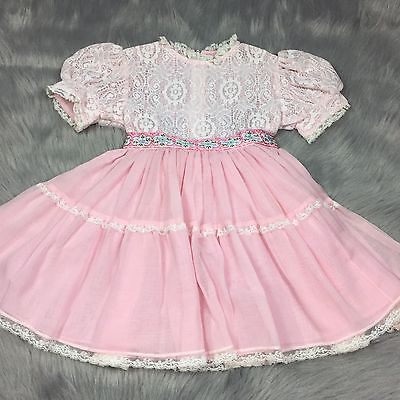 Vintage 50s Toddler Girls Pink Frilly Floral Lace Sheer Cinderella Dress Ruffle