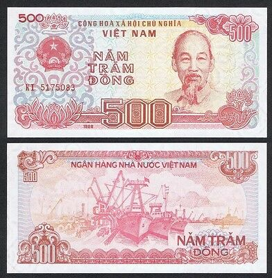 VIETNAM 🇻🇳 500 Dong Banknote, 1988, P-101a, UNC World Currency