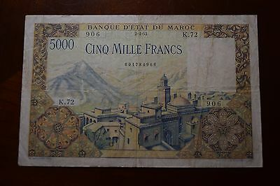 Morocco 5000 Francs Currency Banknote 1953