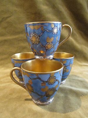 Gorgeous french porcelain ? & 950 silver base minerve 4 coffee cups japanese st