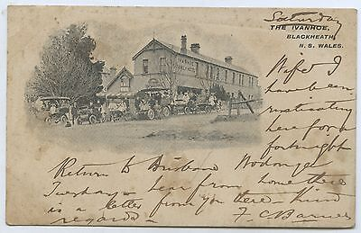 1905 Pt Pu Ub Advertising Postcard Ivanhoe Hotel Blackheath Nsw Cars At Front M2