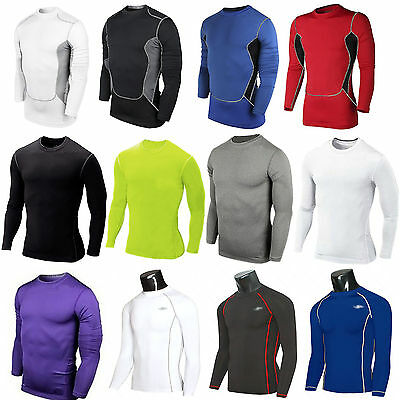 Mens T Shirt Compression  Base Layer Top Long Sleeve Thermal Top Jersey Cycling