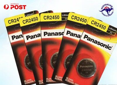 5 Panasonic CR2450 DL2450 3v Lithium Battery coin cell individual pack brand new