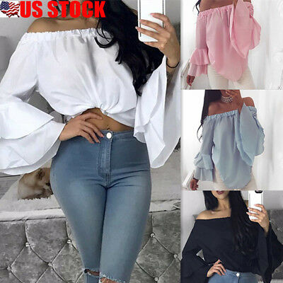 Women Long Sleeve Off Shoulder Strapless Flared Ruffle Crop Tops Blouse T-Shirts