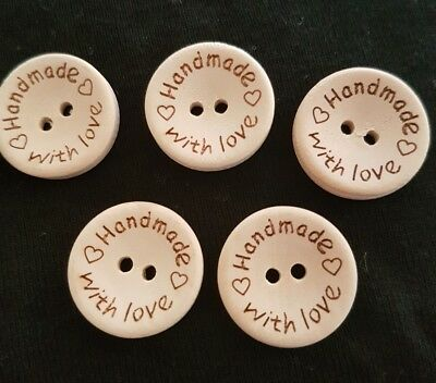Handmade With Love buttons 5pk