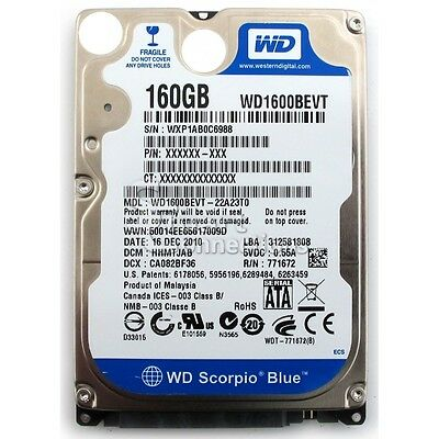 HARD DRIVE 2.5in 160gb WD1600BEVT / HITACHI / VARIOUS (TESTED)