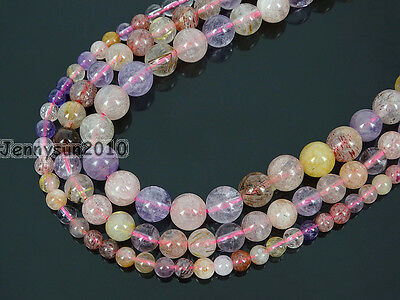 Mixed Natural Quartz Gemstone Round Beads 15.5'' 4mm 6mm 8mm Amethyst Strawberry