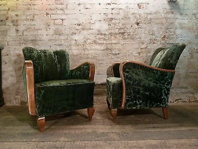 A Pair of Green Velvet Antique French Bentwood Arm Chairs Vintage c1940