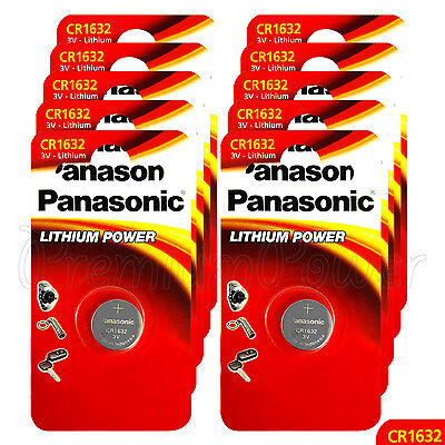 10 x Panasonic CR1632 batteries Lithium Power 3V Coin Cell BR1632 DL1632 Pack 1