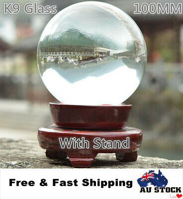 100mm Clear Round Glass Artificial Crystal Healing Ball Sphere Decor With Base