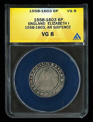 1584 Great Britain England Sixpence 6P Elizabeth I 1558-1603 Hammered Anacs Vg 8