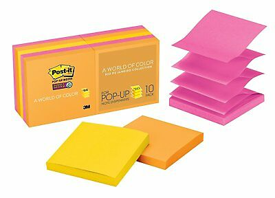 Post-it Super Sticky Pop-up Notes, 3 in x 3 in, Rio de Janeiro Collection, 10