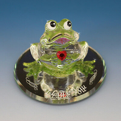 Kiss me Frog Is An Adorable Hand Made Figurine & Holds a Red Swarovski Heart