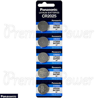 5 x Panasonic CR2025 batteries Lithium 3V Coin Cell DL2025 BR2025 EXP:2026