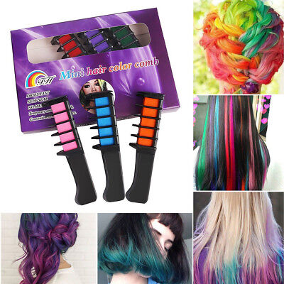 6Colors Temporary Hair Chalk Dye Powder Comb Salon Hair Mascara Crayons DIY Tool