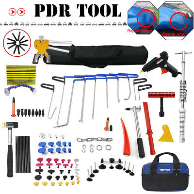 Whale Tail PDR Rods Tools Car Dent Paintless Repair Puller Hammer Removal Kit