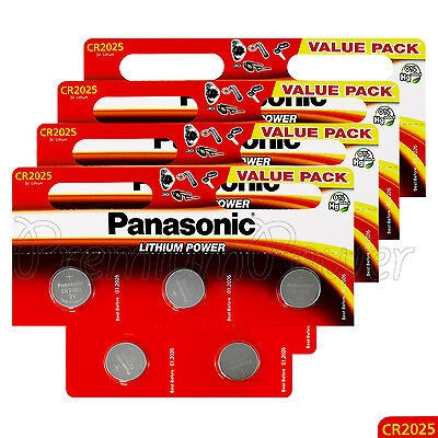 20 x Panasonic CR2025 batteries Lithium Power 3V Coin Cell DL2025 BR2025 EXP2026