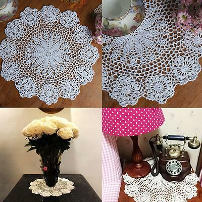 """14.5"""" Lace Floral Round Cream Hand Crochet Drink Coasters Cup Mat Insulation Pad"""