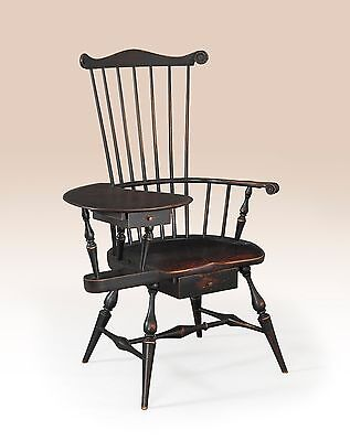 Primitive Writing Windsor Armchair Early American Style Wood Furniture Chair