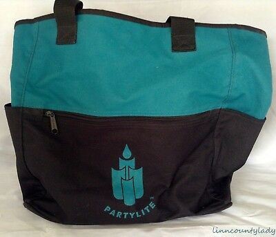 "Vtg PartyLite Tote Bag Case 14"" x 14"" x 7"" Pockets Inside & Out Canvas FR SHP"