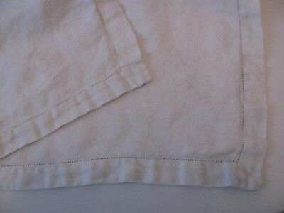 "Vintage White 48"" Square Tablecloth embossed design pulled thread hem"