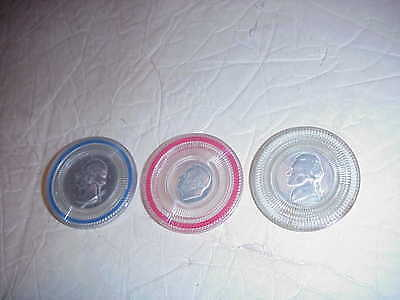 Early Poker Chips - 3 Diff Chips - Nickle, Dime And Quarter Coin Face