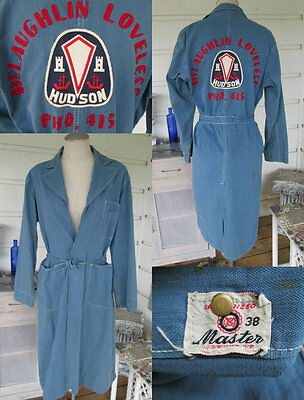 RARE Vintage 30s or 40s Hudson Motor Co Mechanic's Overcoat Trench Coat Jacket