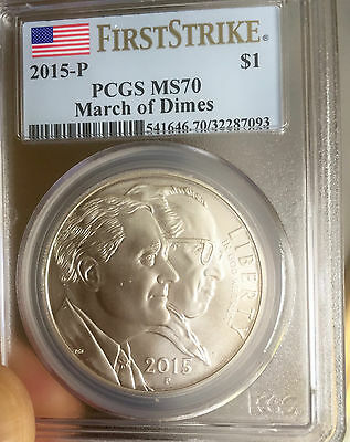 2015-P March of Dimes Commemorative Dollar - PCGS MS-70 - First Strike Label